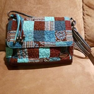 Handbags - Donna Sharp Blue and Brown Messenger Bag